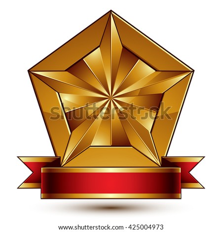 Vector glorious glossy design element, luxury 3d pentagonal golden star placed on a decorative blazon, conceptual graphic coat of arms with wavy red ribbon, clear EPS8.   - stock vector