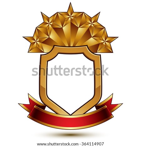 Vector glorious glossy design element, luxury 3d pentagonal golden star placed on decorative blazon, conceptual graphic coat of arms with wavy red ribbon - stock vector