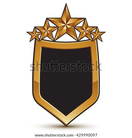 Vector glorious glossy design element, shield symbol with five luxury 3d golden stars, conceptual graphic template, clear EPS 8. - stock vector