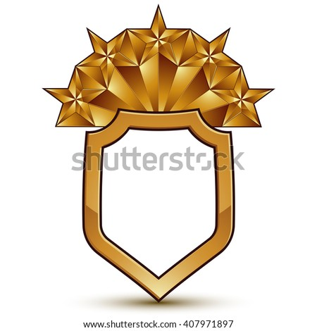 Vector glorious glossy design element with five luxury 3d pentagonal golden stars, conceptual graphic template - stock vector