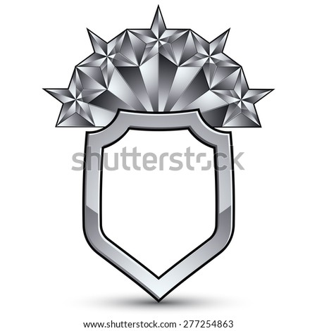 Vector glorious glossy design element with luxury 3d silver star, silvery conceptual graphic template, clear EPS 8 complicated shield.  - stock vector