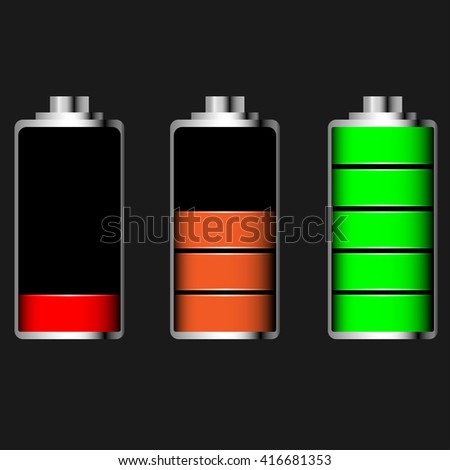 Vector glossy battery set with various loads and colors - stock vector
