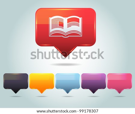 Vector Glossy Book Icon and Multicolored - stock vector