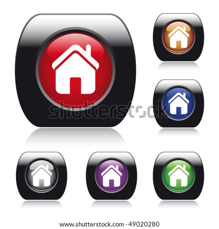 Vector glossy button for web design with home icon. Easy editable. Six colors: blue, red, orange, green, purple, gray - stock vector