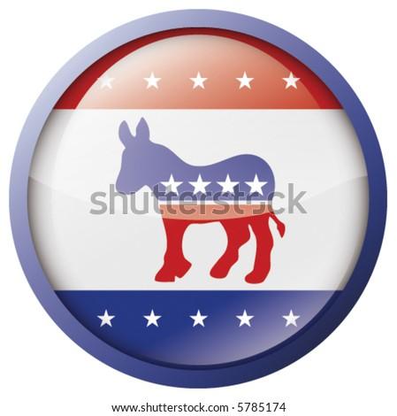 Vector Glossy Democrat badge/button - stock vector