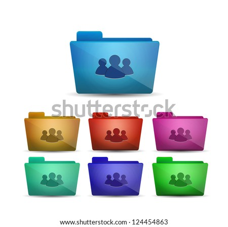 Vector glossy folders with members / group/ social network symbol - stock vector