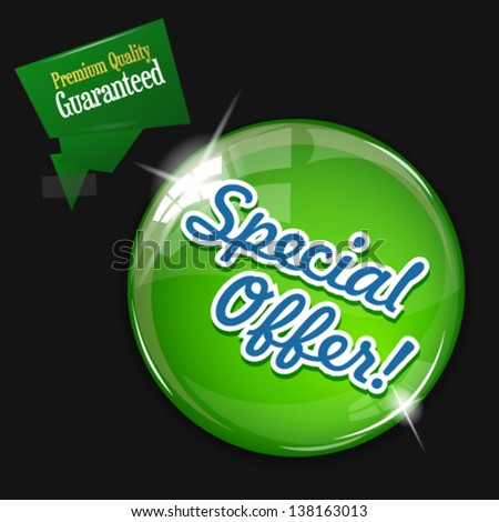 Vector glossy green round Special Offer button on dark background. Image contains transparency in lights and shadows and can be placed on every surface. 10 EPS - stock vector