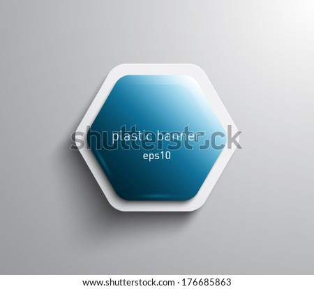 Vector glossy hexagonal banner with plastic style for business design - stock vector