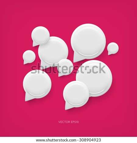 Vector glossy plastic round speech bubbles background - stock vector