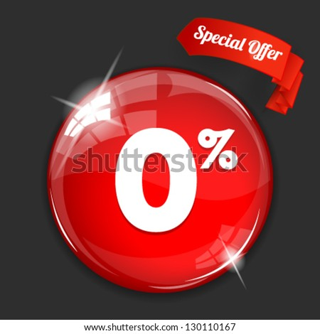 Vector glossy red round 0% button on dark background. Image contains transparency in lights and shadows and can be placed on every surface. 10 EPS - stock vector
