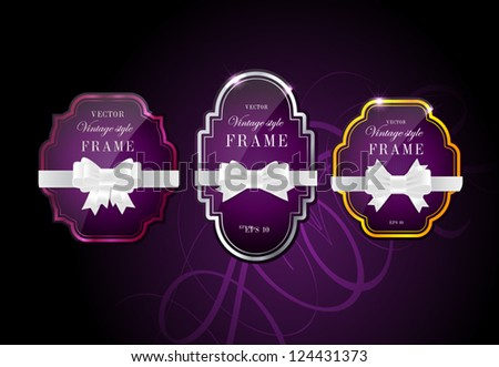 Vector glossy retro frames with metallic shiny borders, with white silky ribbon bow knots - purple - stock vector