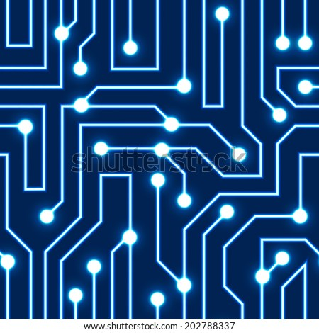 Vector glowing blue circuit board background. Electrical scheme seamless pattern. Vector illustration Blue abstract technology background - stock vector
