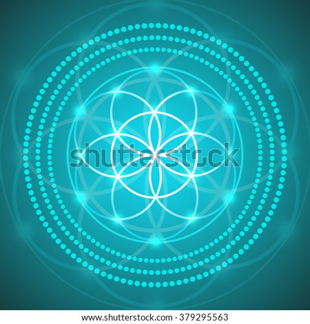 Vector Glowing Flower of Life Symbol  - stock vector