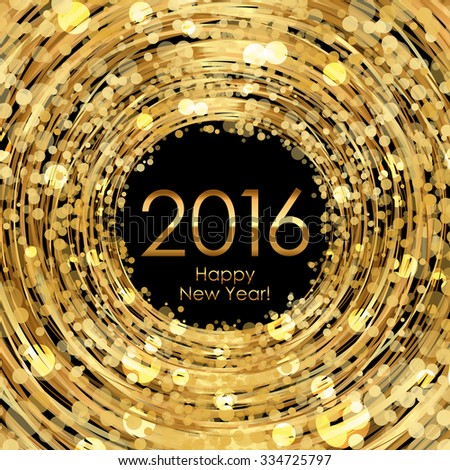 Vector 2016 glowing gold background - stock vector