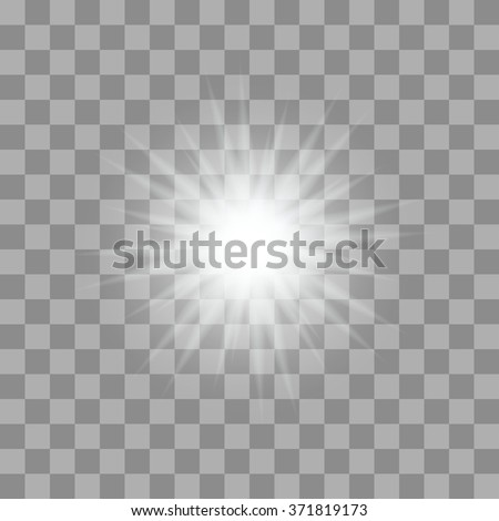 Vector glowing light bursts with sparkles on transparent background - stock vector