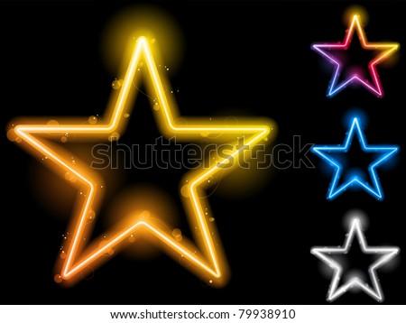 Vector - Glowing Neon Stars Set of Four - stock vector
