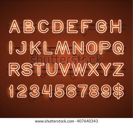 Vector Glowing Orange Neon Bar Alphabet - stock vector