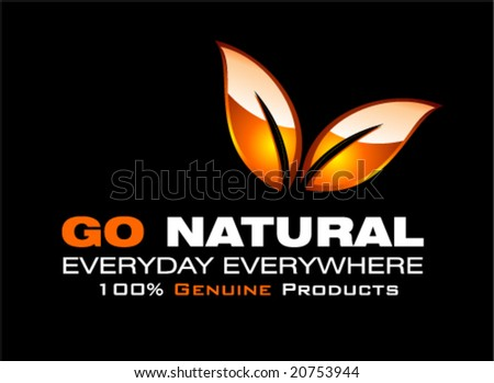 VECTOR Go Natural glossy leaf card template - stock vector