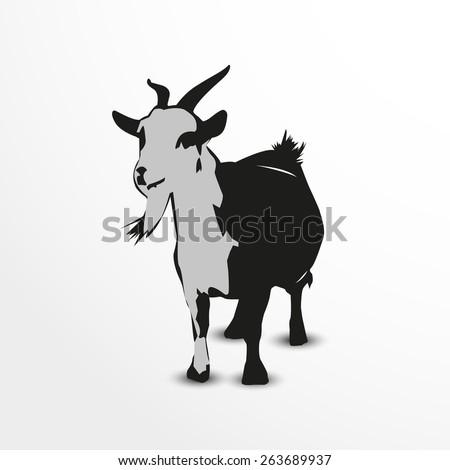 Vector goat web flat icon illustration. - stock vector