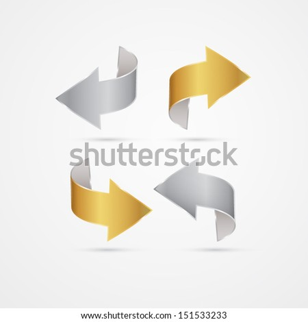 Vector Gold and Silver Arrows Isolated on Grey background  - stock vector