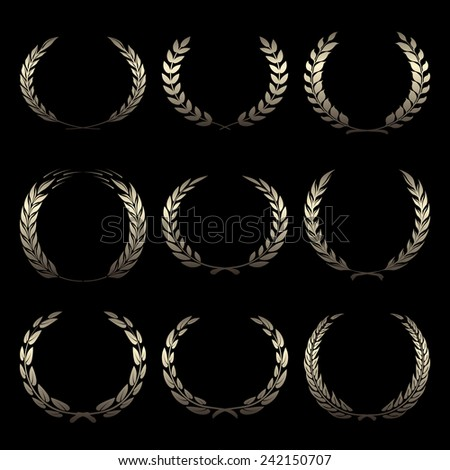 Vector gold award wreaths, laurel on black background illustration - stock vector