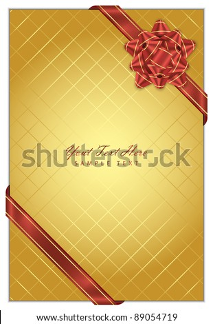Vector gold  background with red bow - stock vector