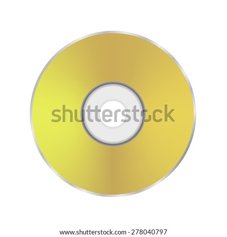 Vector Gold Compact Disc Icon Isolated on White Background. - stock vector