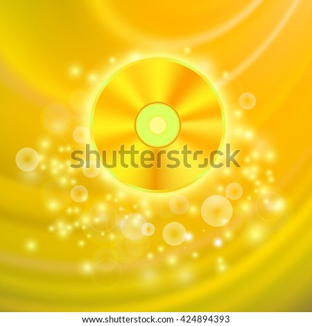 Vector Gold Compact Disc Isolated on Yellow Wave Blurred Background - stock vector