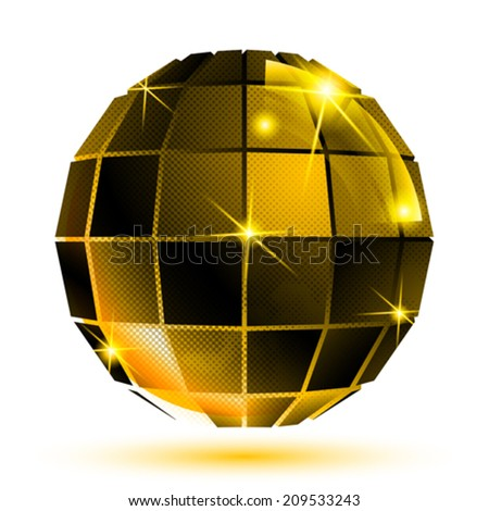 Vector gold 3d futuristic sparkling object, bright plastic textured eps10 construction. - stock vector