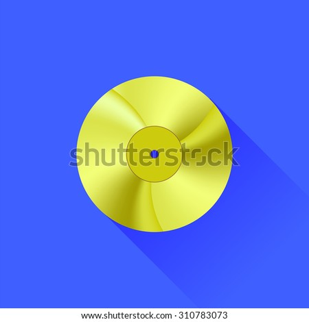 Vector Gold Disc Icon Isolated on Blue Background. Long Shadow - stock vector