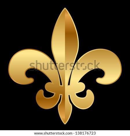 Vector gold Fleur-de-lis ornament on black - stock vector