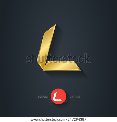 Vector gold font, Letter L. Elegant Template for company logo. 3d Metallic Design element or icon. Pseudo origami style, including flat version. - stock vector