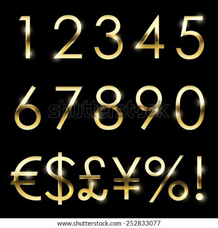 Vector gold font with additional currency, numbers and special symbols and signs. - stock vector
