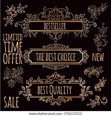 Vector gold frame design element and page decoration. In the hand drawn style. Premium quality, warranty, Baroque and Classical label - stock vector