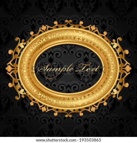 Vector gold frame on black wall - stock vector
