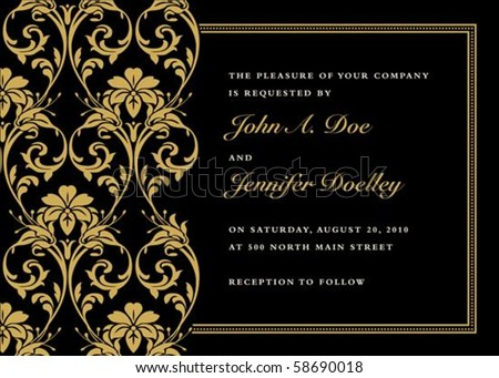 Vector gold frame with sample text. Perfect as invitation or announcement. Pattern is included as seamless swatch. All pieces are separate. Easy to change colors. - stock vector