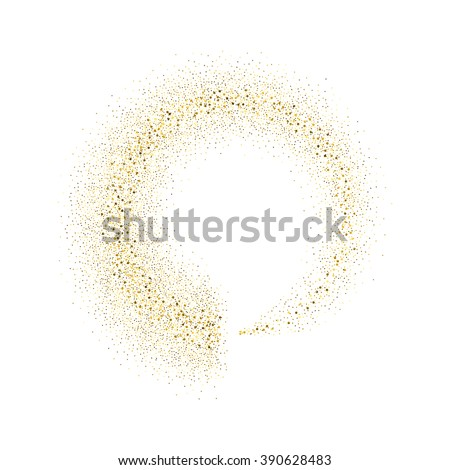Vector gold glitter circle abstract background, golden sparkles on white background,  Gold glitter card design. vector illustration vip  design template. - stock vector