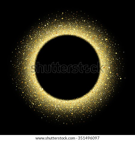 Vector gold glitter wave abstract background, golden sparkles on black background, vip design template - stock vector