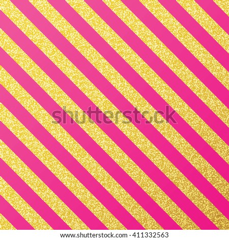 Vector gold glittering lines pattern on pink background. Trendy gold glitter stripe. Modern gold texture.  - stock vector