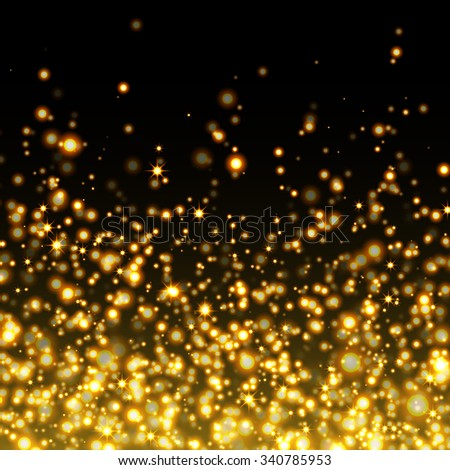 Vector gold glittering sparkle stardust background - stock vector