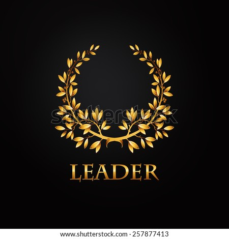Vector gold laurel wreath. Leaves pattern. - stock vector