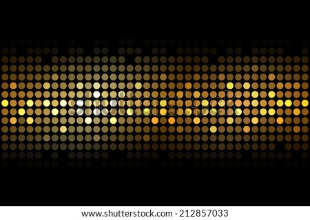 Vector gold lights on black background - stock vector