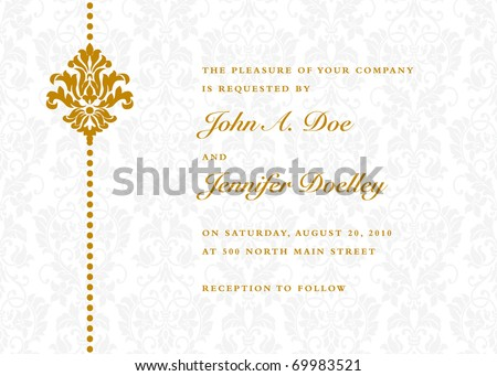 Vector gold ornate frame and ornament. Easy to edit. Perfect for invitations or announcements. - stock vector