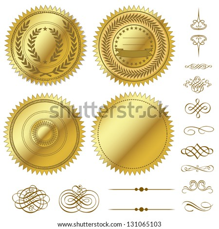 Vector Gold Seal Set - stock vector