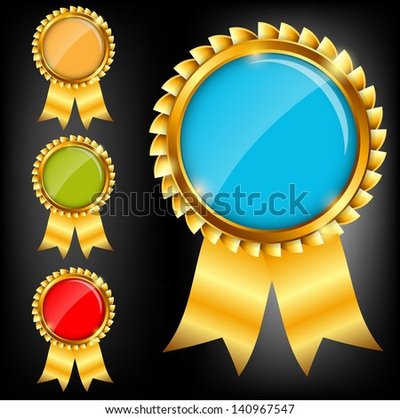 Vector gold sign, label template - stock vector