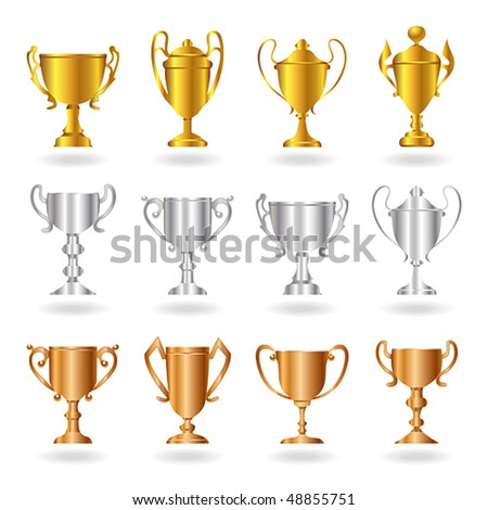 Vector gold, silver and bronze trophies or cups. JPG and TIFF image versions of this vector illustration are also available in my portfolio. - stock vector