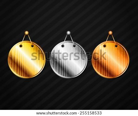 Vector Gold Silver Bronze Tone Wooden Board - stock vector