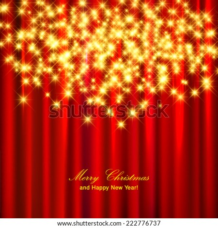 Vector gold sparkle glitter background. Christmas invitation card. - stock vector