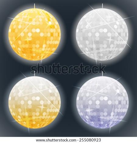 Vector golden and silver disco balls - stock vector