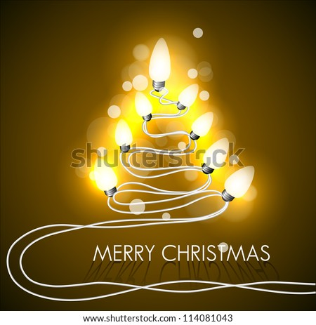 Vector golden background with christmas tree and lights - stock vector